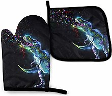 Oven Mitts And Pot Holdersset Dinosaurs Glitters