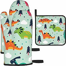 Oven Mitts and Pot Holders Set,Dinosaurs Heat