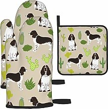 Oven Mitts and Pot Holders Set,English Springer