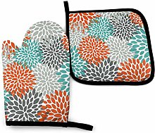 Oven Mitts and Pot Holders Set,Floral Pattern