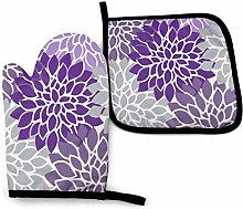 Oven Mitts and Pot Holders Set,Modern Purple and