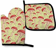 Oven Mitts And Pot Holdersset Mushrooms Red