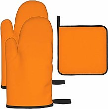 Oven Mitts and Pot Holders Set,PLAIN BRIGHT NEON