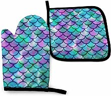 Oven Mitts And Pot Holders Set,Purple Fish Scale