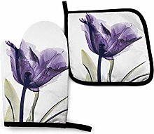 Oven Mitts and Pot Holders Set,Purple Flower Oven