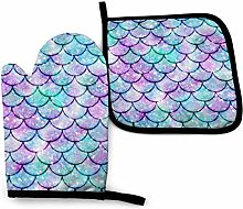 Oven Mitts And Pot Holdersset Scales Of Mermaids