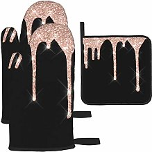 Oven Mitts and Pot Holders Set,Sparkly Glitter