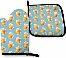 Oven Mitts and Pot Holders Set,Summer Ice Beer