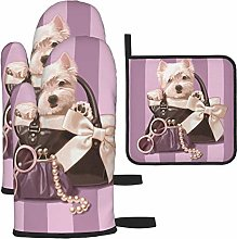 Oven Mitts and Pot Holders Set,Westie Puppy In