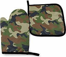 Oven Mitts and Pot Holders Set,Woodland Camo