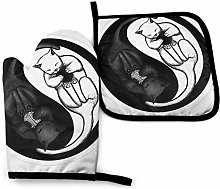 Oven Mitts And Pot Holdersset Yin-Yang Cats