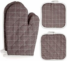 Oven Mitts and Pot Holders Sets 4 pcs, Brown Oven