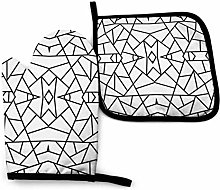 Oven Mitts and Pot Holders Sets,Abstract Geometric