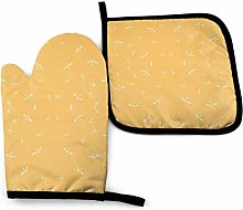 Oven Mitts and Pot Holders Sets,Abstract Yellow