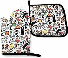 Oven Mitts and Pot Holders Sets Anime My Neighbor