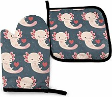 Oven Mitts and Pot Holders Sets,Axolotls Hearts