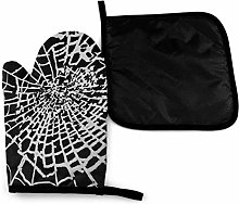 Oven Mitts and Pot Holders Sets,Black and White