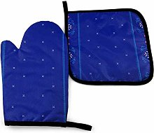 Oven Mitts and Pot Holders Sets,Blue Ginger Spice