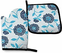 Oven Mitts and Pot Holders Sets,Blue Gradient