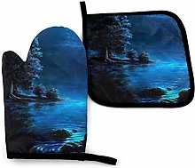 Oven Mitts And Pot Holders Sets, Blue Light