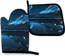 Oven Mitts And Pot Holders Sets, Blue Moonlight