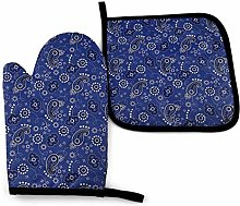 Oven Mitts and Pot Holders Sets,Blue Paisley