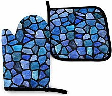Oven Mitts and Pot Holders Sets,Blue Tiles