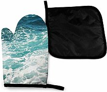 Oven Mitts and Pot Holders Sets,Blue Waves