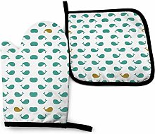 Oven Mitts and Pot Holders Sets,Blue_Whales_Gold