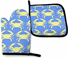 Oven Mitts And Pot Holders Sets, Blue Yellow Crab