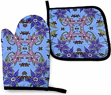 Oven Mitts and Pot Holders Sets,Borage Bees Blue