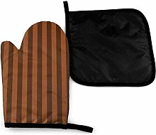 Oven Mitts and Pot Holders Sets,Brown Brown