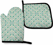 Oven Mitts and Pot Holders Sets,Cactus On White