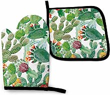 Oven Mitts and Pot Holders Sets,Cactus White