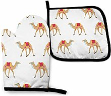 Oven Mitts and Pot Holders Sets,Camel Cartoon On