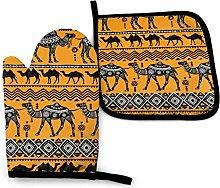 Oven Mitts and Pot Holders Sets,Camel Orange