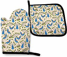 Oven Mitts And Pot Holders Sets, Cartoon Blue