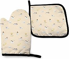Oven Mitts And Pot Holders Sets, Cat Yellow