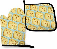 Oven Mitts and Pot Holders Sets,Cheese Yellow