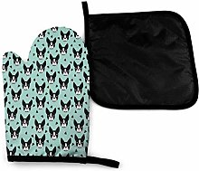 Oven Mitts and Pot Holders Sets,Cute Black and