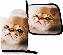 Oven Mitts And Pot Holders Sets, Cute Yellow Cat