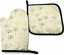 Oven Mitts And Pot Holders Sets, Dandelion Yellow