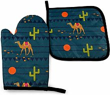 Oven Mitts and Pot Holders Sets,Desert Camels On