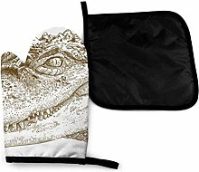 Oven Mitts and Pot Holders Sets,Etching Crocodile
