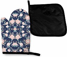 Oven Mitts and Pot Holders Sets,Florals Navy Blue,