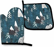 Oven Mitts and Pot Holders Sets,Forest Peaks