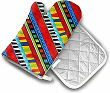 Oven Mitts and Pot Holders Sets Funky Bias Stripe