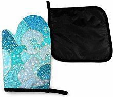 Oven Mitts and Pot Holders Sets,Glittering Blue