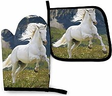 Oven Mitts And Pot Holders Sets, Happy White Horse