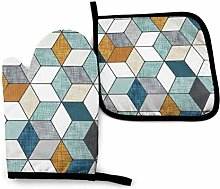 Oven Mitts and Pot Holders Sets,Hexo (Blue) Med